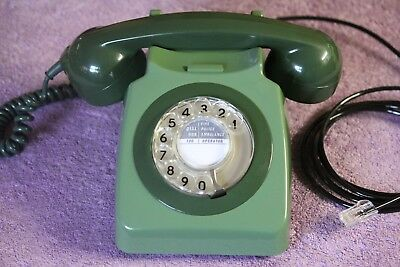 Vintage GPO 746 GREEN rotary dial telephone converted BT plug in