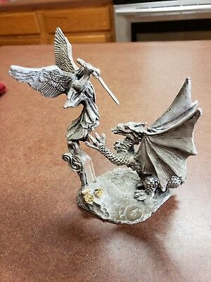 St. Michael & The Dragon Pewter Figurine. 1992