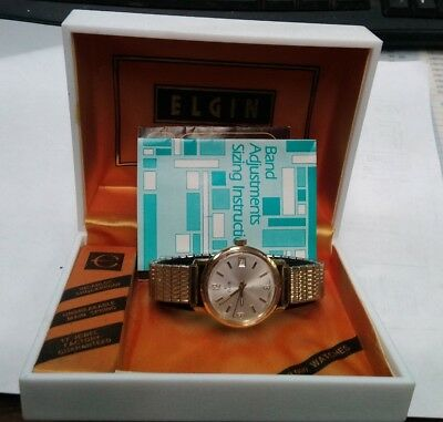 new vintage old stock elgin wrist watch & date window gold tone & case & papers