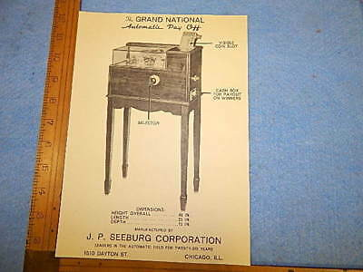 1934 Seeburg Grand National Automatic Pay Off Advertising Flyer