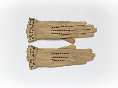 1910s ART NOUVEAU Style ~ Palomino Tan Kid Leather Gloves ~ EMBROIDERY ~ NFine