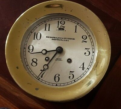 WWII Chelsea Ships Bell Clock serial 314076 Oct 1942 runs comes w/key