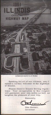 1961 Official Highway Road Map: Illinois NOS