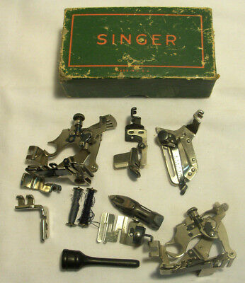 Vintage Singer Sewing Machine Attachments Accessories Box 48675 Lot of 11 pieces