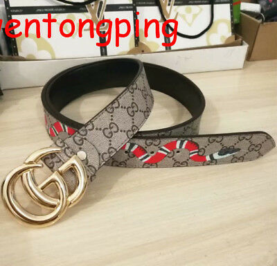 New Double G Alloy Buckle Belt Leather Printing Snake Tiger Bee Men Women Belts