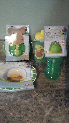 First Steps 2 Baby Feeding Bowls and  2 bottles green brand new BARGAINED PRICE