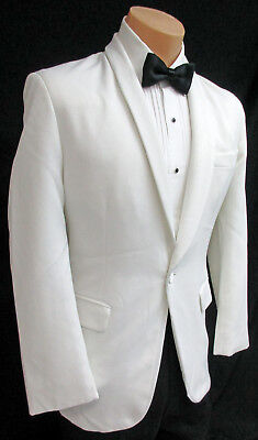 Men's White Tuxedo Dinner Jacket One Button with Shawl Rounded Lapels 54 Long
