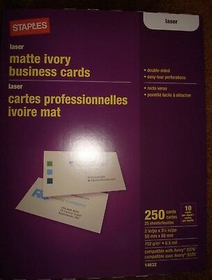 Staples 14632 Laser Business Cards, Matte Ivory, 250/Pk Free Shipping-Avery 5376