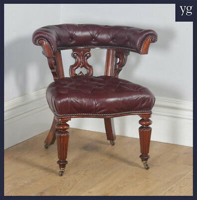 Antique English Victorian Mahogany & Burgundy Red Leather Office Desk Arm Chair