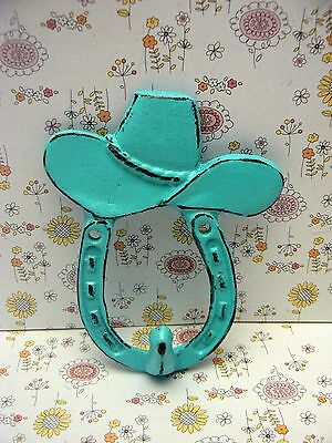 Horse Shoe Cowboy Cowgirl Hat Country Western Cast Iron Hook Shabby Turquoise