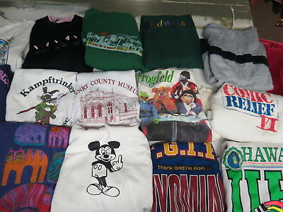 LOT OF 21 VINTAGE 80s VTG 90s SWEATSHIRTS NOVELTY USA TOONS BEER COLLEGE SPORTS