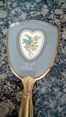 Vintage Hand Mirror Pretty Floral Design