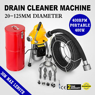 500W Electric Drain Auger Pipe Cleaning Machine Snake Sectional Toilet GREAT