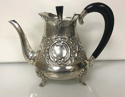 Gorgeous Antique Sterling Silver Tea Pot with Black Onyx Handle