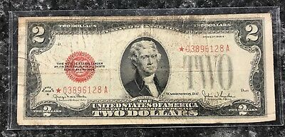 1928 G Series $2 Star United States Note Red Seal ~ Good Condition! Nr!