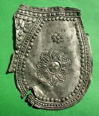 Ancient Celtic Roman Decorated Silver Part Of Helmet Or Armor - Beautiful