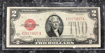1928 G Series $2 United States Note Red Seal ~ Very Good Condition! Nr!