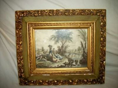 French Etching Engraving Tinted Farm Peasants Swimming Semi Nude Chippy Ornate