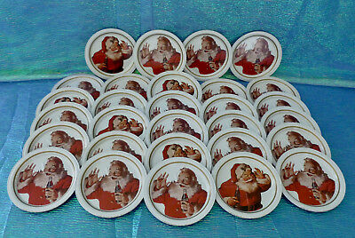 Vintage 29 Pc. Metal Tin Coca Cola Christmas Santa Drink Coasters 1983 Ohio Art