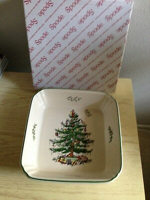 "Spode CHRISTMAS TREE 10"" Square  Casserole Dish 3"" Deep New With Box"