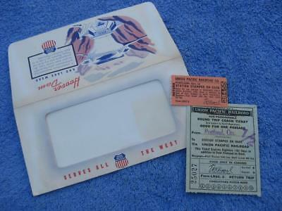 1955 Union Pacific Tickets & Envelope Round Trip from Oregon Colorful Graphics