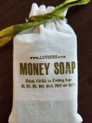MONEY SOAPS in BAGS *new* Mystery Amount Real Cash in Every Bar Stocking Stuffer