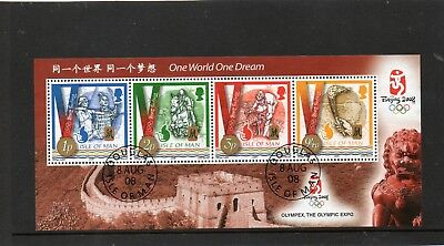 2008 Isle Of Man Olympic Games Beijing Olympex Very Fine Used Mini Sheet