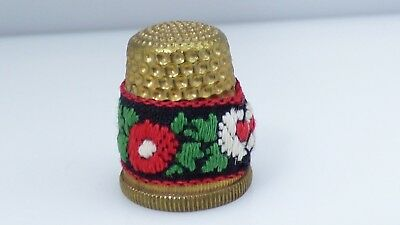Vintage Petit Point Thimble Flowers Floral Needlepoint Gold Brass? Collectible
