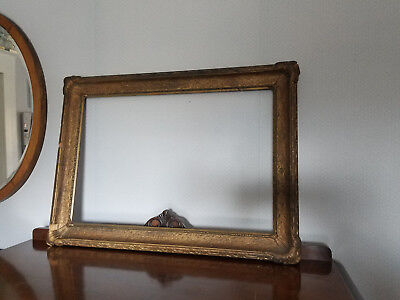 Antique LARGE Solid Wood Gesso Gilded Frame NO GLASS Shabby Chic 37x21
