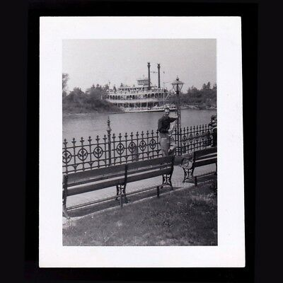 BW Photo Disney Frontierland Mark Twain Steamboat 1955 Disneyland