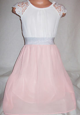 GIRLS PASTEL PINK & WHITE LACE SILVER TRIM SPECIAL OCCASION PARTY DRESS age 5-6