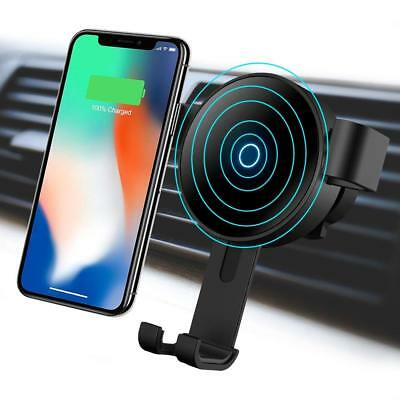 Wireless 10W Fast Car Charger Mount Gravity Car Mount Air Vent Phone Holder NEW