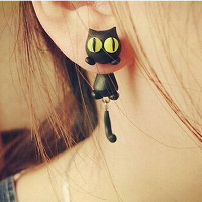 1 Pair Fashion Jewelry Women's 3D Animal Cat Polymer Clay Ear Stud Earring VXUS