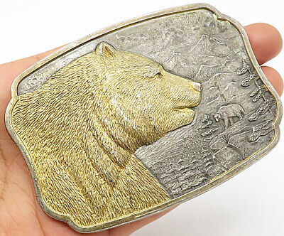 GRIZZLY BEAR 1984 925 Silver - Vintage Heavy Solid Bronze Belt Buckle - T1230