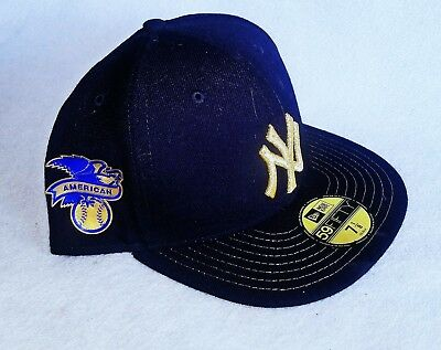 NEW ERA 59Fifty New York GOLD NY Yankees Game Fitted Hat Dark Navy MLB Cap 7 1/8