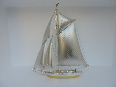 VERY LARGE MASSIVE JAPANESE SOLID STERLING SILVER 970 YACHT SHIP 240 gr 8.5 oz