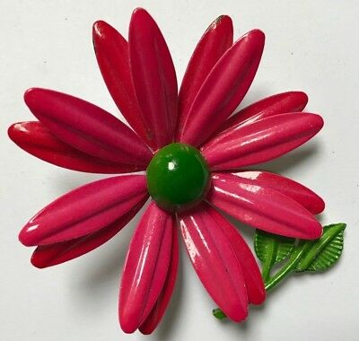 Vintage Enamel Flower Brooch Pin