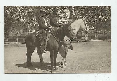 1910 Cowboys Woolly Chaps Saddle Hats White Black Horse Real Photo Postcard