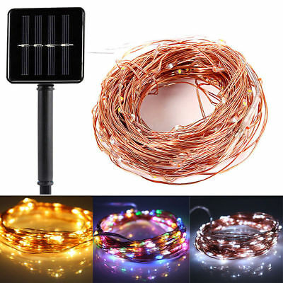 Solar Power LED String Lights 100 Copper Wire 33 ft. Waterproof Outdoor Fairy
