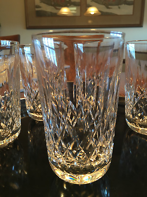"WATERFORD CRYSTAL LISMORE 5"" HIGHBALL TUMBLER- 10oz excellent signed"