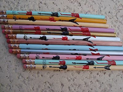 """1 Dz GUITAR Pencils 7.5"""" L Colorful W/ Black & Red Guitars Music Gift Brand NEW"""