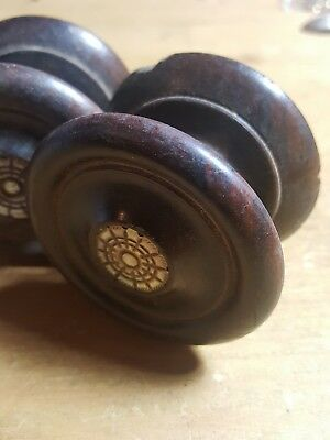 Set Four Antique Mahogany Chest Drawer Knobs Pulls
