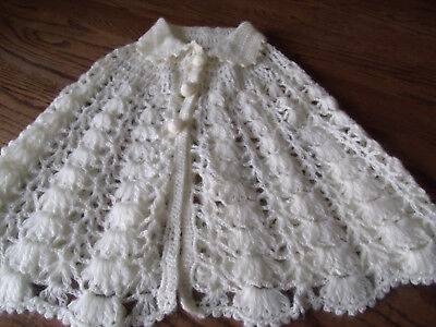 Vintage Hand Crocheted-Girl's Cape, Poncho-Off White