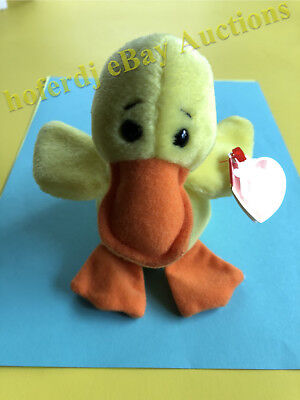 Ty Original Beanie Babies Baby Quackers April 19 1994 with Tags Yellow Duck
