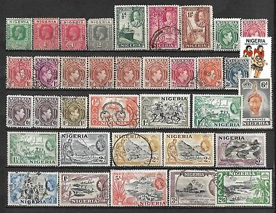 Collection Lot Of 36 Nigeria Stamps 1914+ Clearance