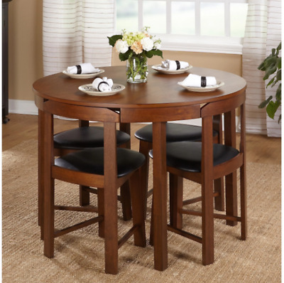 Dining Set 5-Piece Wooden, Round, Compact, Apartments, Small Kitchens,Game Room