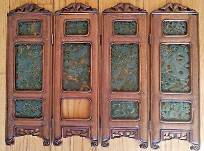 Antique Chinese Green Jade Table Screen RARE