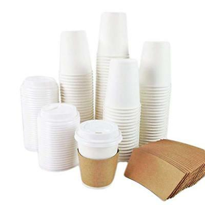 8oz White Paper Coffee Cups BUNDLE with White LIDS and SLEEVES (Full Set)