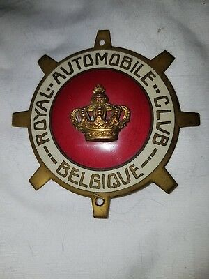 RAC Royal Automobile Club Belgique ENAMEL CAR BADGE Vintage Belgium