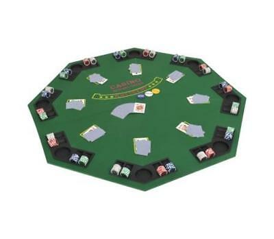 8 Player Folding Poker Table Top Fold Octagonal Green Casino Night Cup Holder